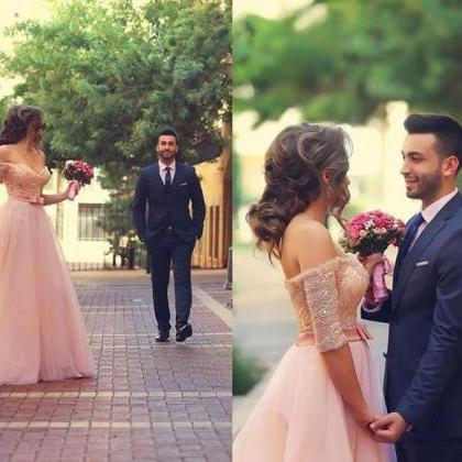 Sweet Pink A-line Tulle Prom Dress,..