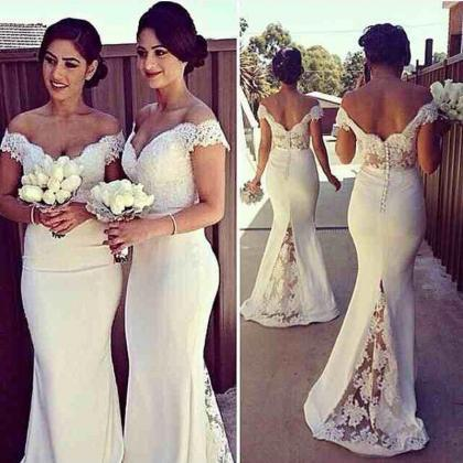 White Bridesmaid Dress,Mermaid Brid..