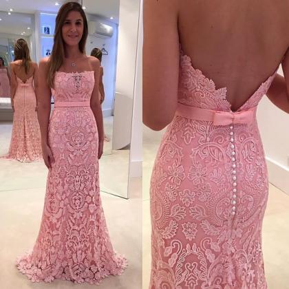 Pink Lace Prom Dresses,Mermaid Prom..
