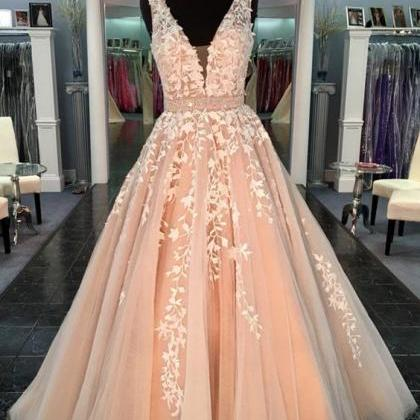 Champagne Prom Dresses,Lace Prom Dr..