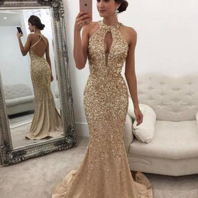 Pretty Gold Long Prom Dress, Custom Made Beading Sleeveless Mermaid Prom Dress For Women