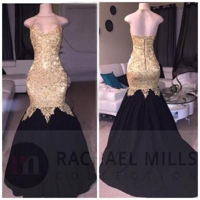Gold And Black African Prom Dresses Mermaid 2018 Sleeveless Backless Evening Gowns Formal Dress
