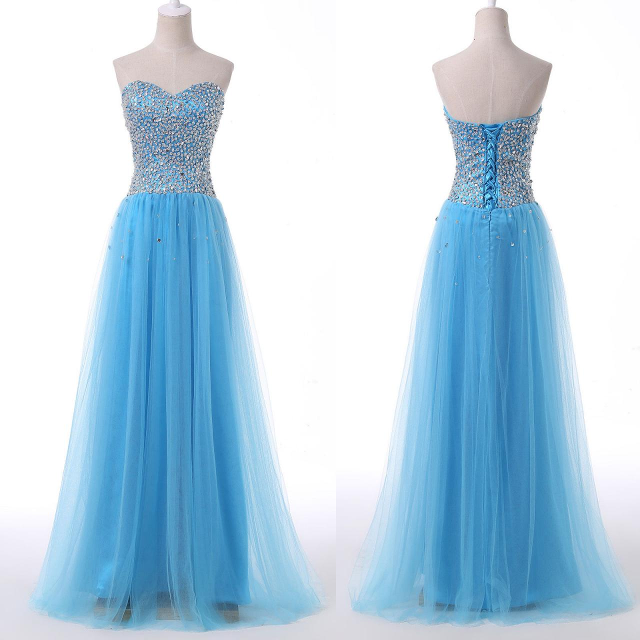 Beaded Prom Dresses,Sweetheart Prom Dresses,Formal Dresses 2018,Sky Blue Party Dress
