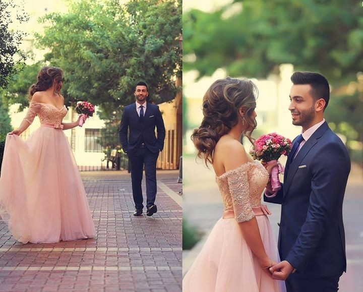 Sweet Pink A-line Tulle Prom Dress,Off The Shoulder Lace And Beading Evening Gowns,Formal Party Gowns
