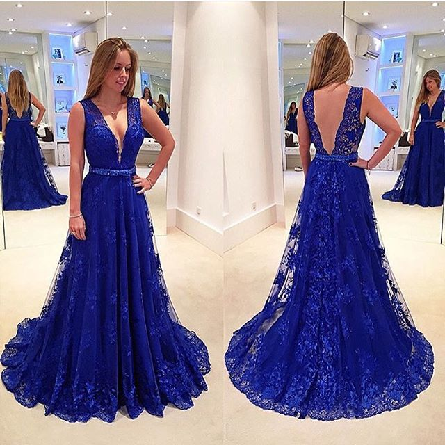 Royal Blue Lace Prom Dresses For Women 2018 Deep V Neck Evening ...