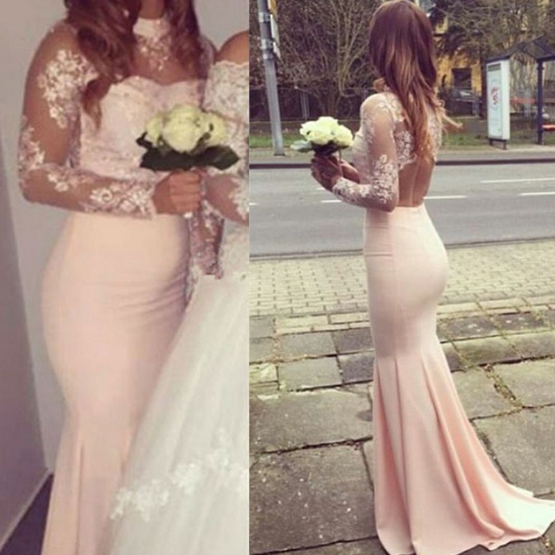 Blush Pink Bridesmaid Dresses Mermaid Bridesmaids Gowns Long Sleeve Maid Of Honor Dress
