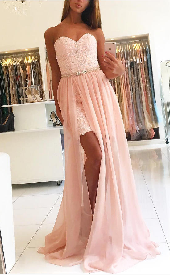 Sweetheart Prom Dresses,Lace Prom Dress 2018,Mermaid Evening Gowns,Side Split Party Dress