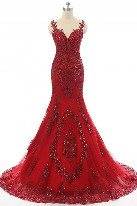 Dark Red Prom Dresses,Mermaid Prom Dresses,Sheer Formal Dress,Long Evening Party Dress