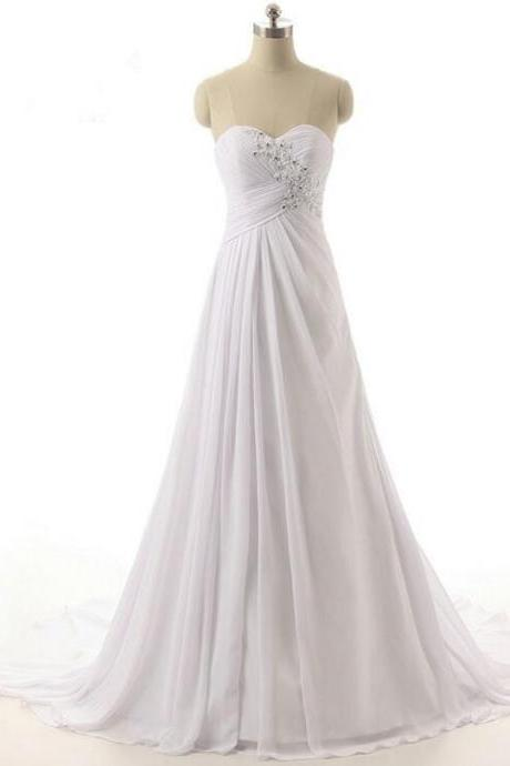 Beaded Embellished Ruched Chiffon Sweetheart Floor Length A-Line Wedding Dress Featuring Lace-Up Back and Sweep Train