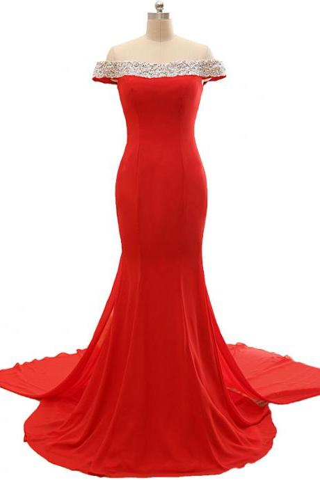 Red Off The Shoulder Prom Dresses,Mermaid Prom Dress,Formal Evening Dress,Party Gowns