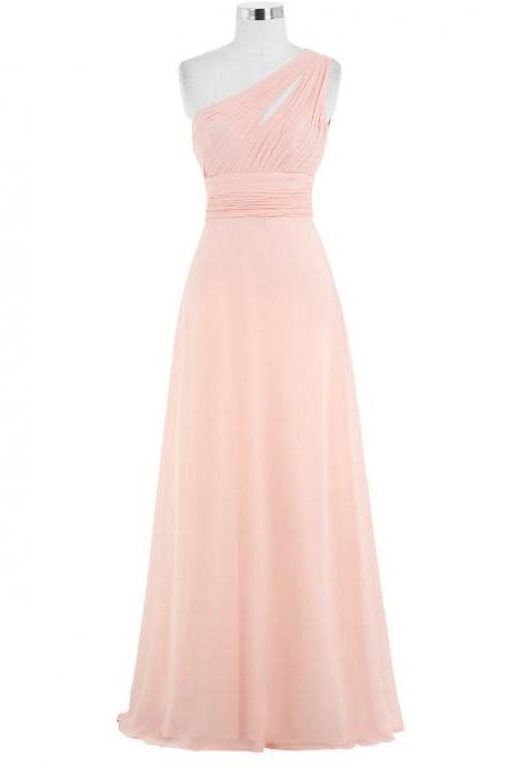 Pink Bridesmaid Dresses Cheap 2018,One Shoulder Bridesmaids Dresses,Maid Of Honor Dresses