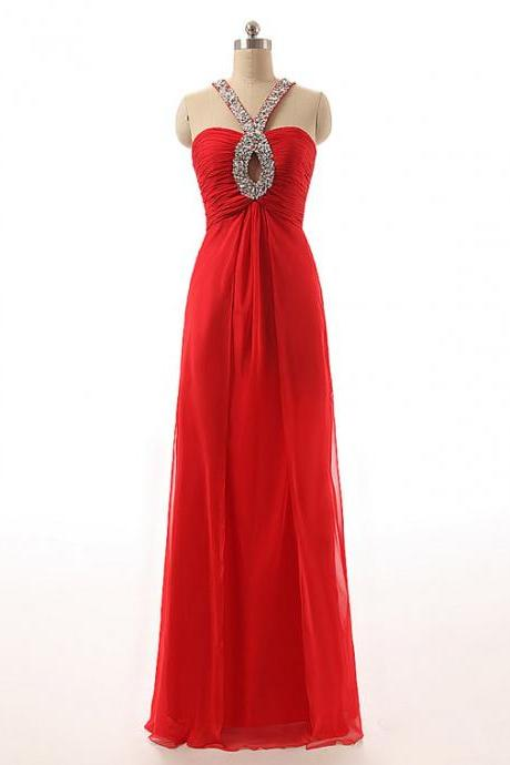 Red Halter Keyhole Beaded Ruched A-line Floor-Length Prom Dress, Evening Dress Featuring Crisscross Back