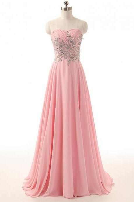 Pink Sweetheart Prom Dresses 2018 A line Floor Length Formal Women Evening Dress