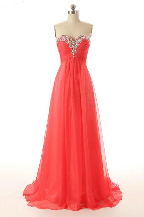 Coral Sweetheart Prom Dresses,Beaded Prom Dress,Formal Party Dress,Evening Gowns 2018