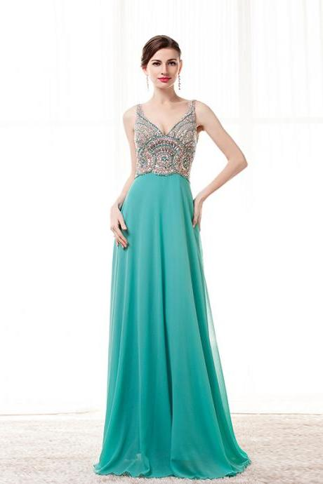 Beading Prom Dresses 2018,Turquoise Party Dress,V Neck Evening Dress 2018,Formal Women Dresses