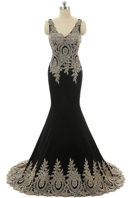 Black Prom Dresses,Arabic Evening Dresses,Mermaid Prom Dress,Formal Evening Gowns,Party Dresses 2018