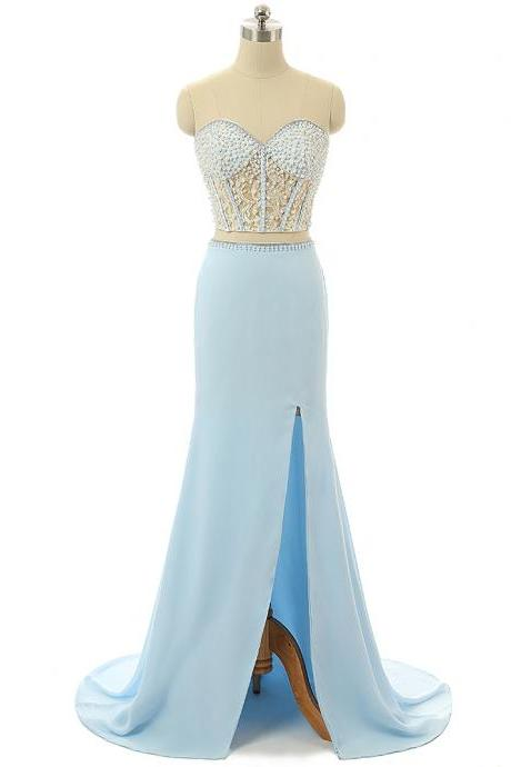 Light Blue Beaded Prom Dresses,Sweetheart Prom Gowns,Formal Women Dress,Two Piece Dresses 2018
