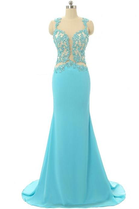 Turquoise Party Dress,Mermaid Evening Dresses,Lace Prom Dresses 2018,Formal Party Gowns