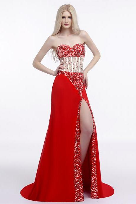 Red Evening Dress,Sexy Sweetheart High Split Long Prom Dress 2018,A-line Beading Prom Dresses,Vestido De Festa