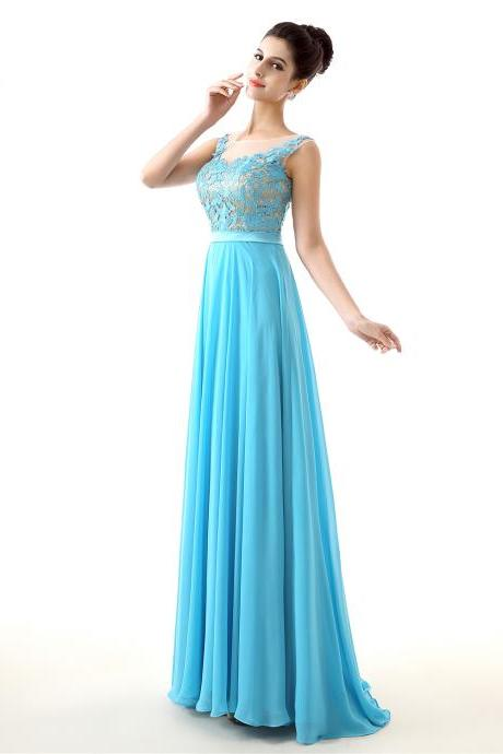 Lace Prom Dress 2018,Beautiful A-line Chiffon Long Prom Dress,Formal Evening Dress,Vestido De Festa
