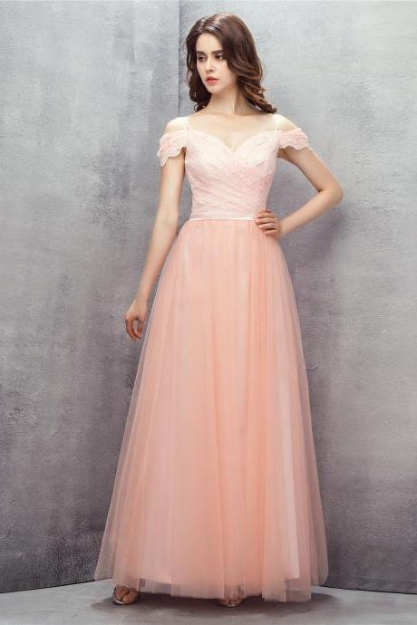 Blush Pink Lace Prom Dresses Long 2018 Off The Shoulder Evening Dresses Formal Party Gowns