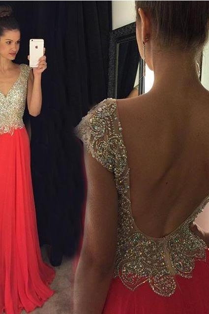 Sexy Deep V-neck Backless Long Prom Dress,Pretty A-line Beading Chiffon Evening Dresses,Formal Party Gowns