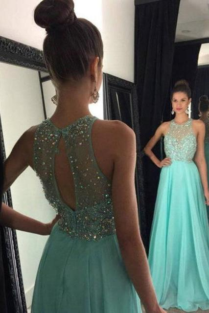 Mint Green A-line Floor-Length Prom Dresses,Pretty A-line Beading Evening Gowns,Formal Party Gowns