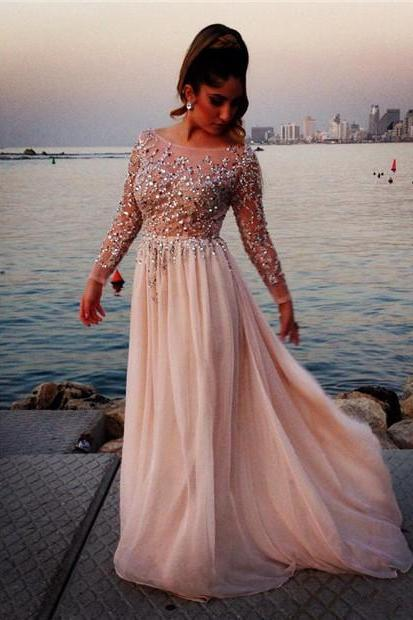 Long Sleeve Prom Dresses,Prom Dresses For Women,Beaded Evening Gowns,Formal Dress 2018