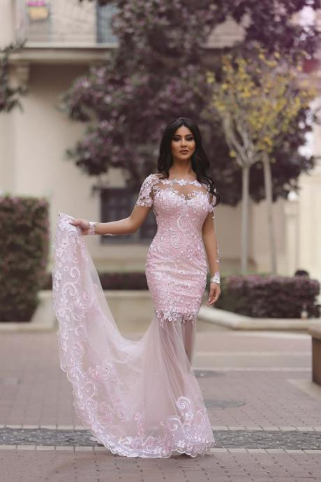 Blush Pink Long Sleeve Prom Dresses,Arabic Evening Dresses,Mermaid Formal Dress,Party Dress 2018