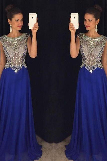 Royal Blue Beaded Prom Dresses Long 2018 Cap Sleeve A Line Formal Women Evening Gowns Party Dresses