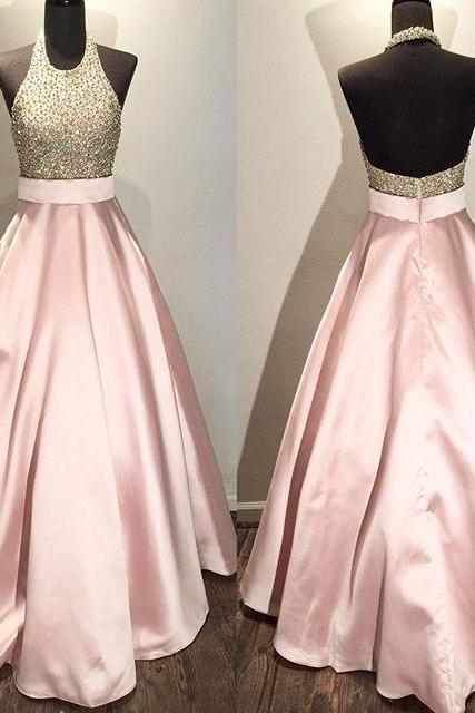 Pink A-line Satin Long Prom Dress,Beading Prom Dress For Women,Formal Evening/Party Gowns 2018