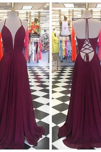 Real Photo Burgundy A-line Chiffon Long Prom Dress,Sexy Deep V-neck Backless Prom Dress For Women,Formal Evening/Party Gowns 2018