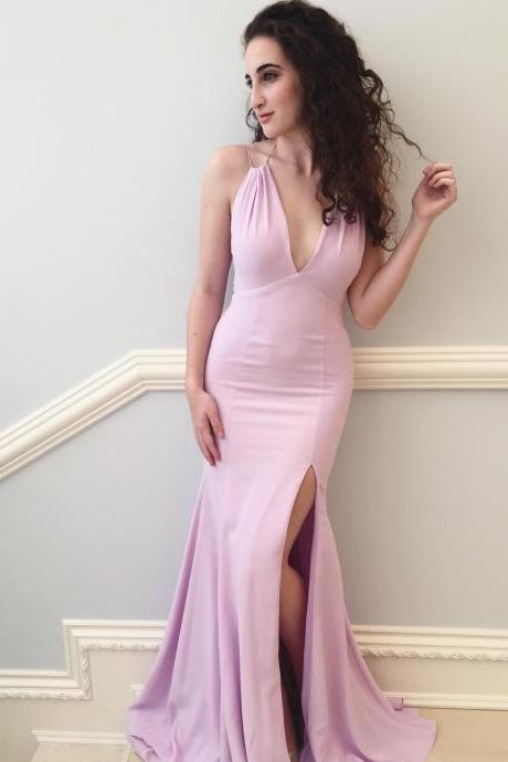 Charming Pink Mermaid Long Prom Dress,Sexy Deep V-neck Split Prom Dress For Women,Formal Evening/Party Gowns 2018