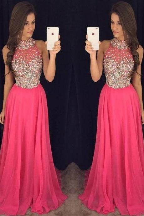 Pretty Pink A-line Chiffon Long Prom Dresses,Custom Made Beading Prom Dress For Women,Formal Evening/Party Gowns 2018
