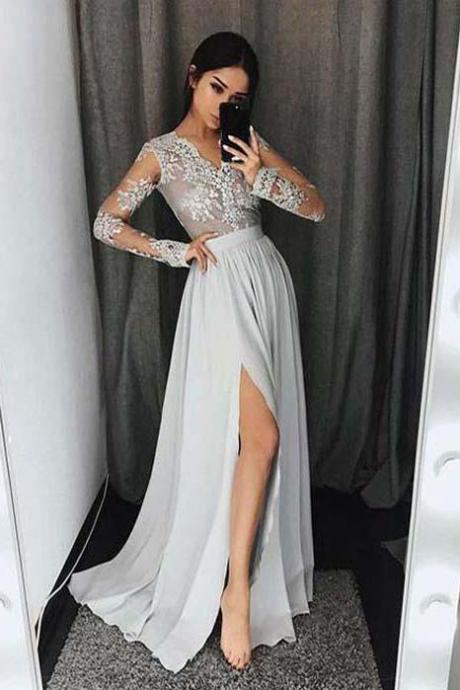 Grey Lace Appliques Plunge V Long Mesh Sleeves Floor Length Chiffon A-Line Prom Dress Featuring Slit, Evening Dress