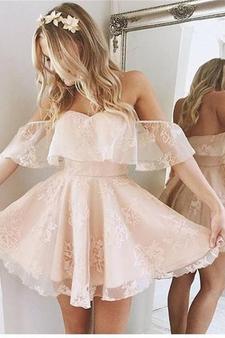 Blush Pink Homecoming Dresses,Lace Homecoming Gowns,Short Prom Dresses,Formal Dress