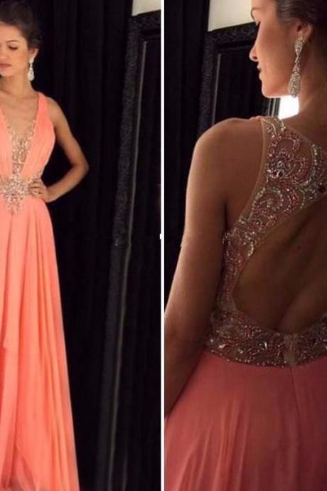 Blush Pink Long Prom Dress,Sexy Deep V-neck Backless Prom Dress,Custom Made Beading Evening Dress