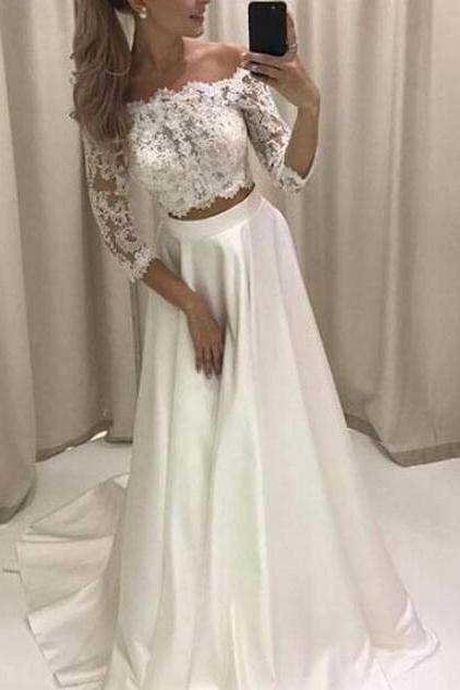 Lace Prom Dresses,Two Piece Prom Dress, White Off The Shoulder Long Sleeves Prom Dress,Formal Evening Gowns,Party Dresses 2018