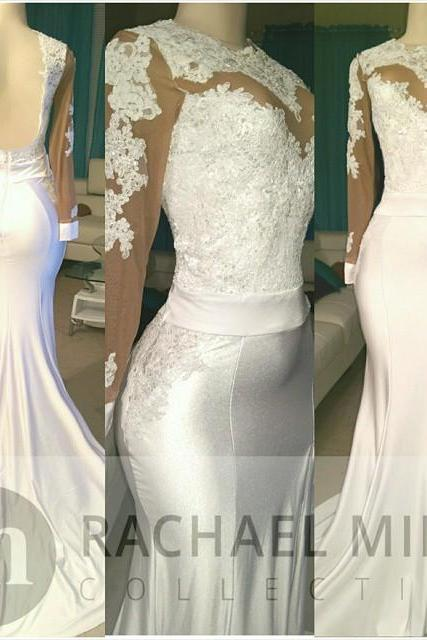 White African Prom Dresses Mermaid 2018 Long Sleeve Backless Split Evening Gowns Formal Dress Lace Prom Dress