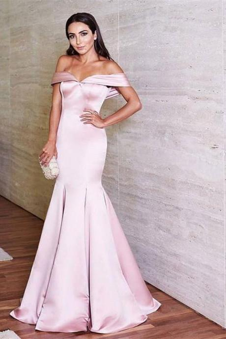 Off The Shoulder Long Prom Dress, Pink Mermaid Sleeveless Prom Dress,Formal Evening Gowns,Party Dresses 2018