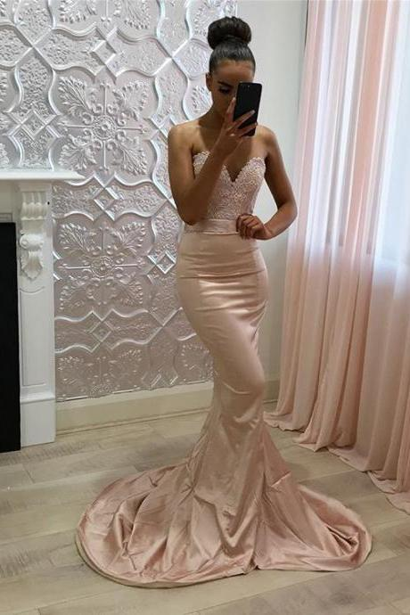 Pink Long Prom Dress,Sweetheart Sleeveless Mermaid Prom Dress,Formal Evening Gowns,Party Dresses 2018