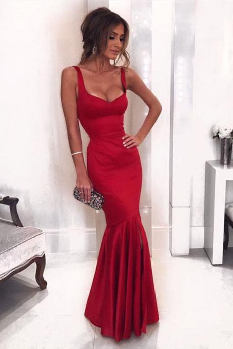 Sexy Sweetheart Sleeveless Long Prom Dresses,Burgundy Mermaid Prom Dress,Formal Evening Gowns,Party Dresses 2018