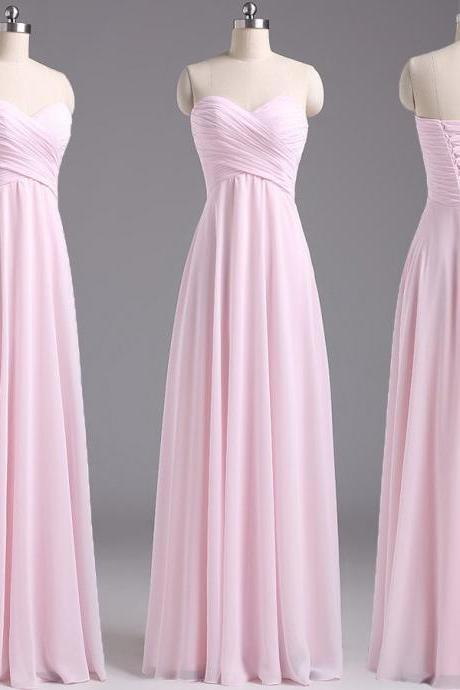 Pink Chiffon Ruched Sweetheart Floor Length A-Line Prom Dress Featuring Lace-Up Back, Formal Dress