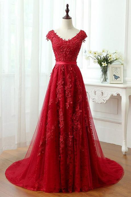 Red Floral Lace Appliqués Plunge V Cap Sleeves Floor Length Tulle Prom Dress Featuring Lace-Up Back, Formal Dress