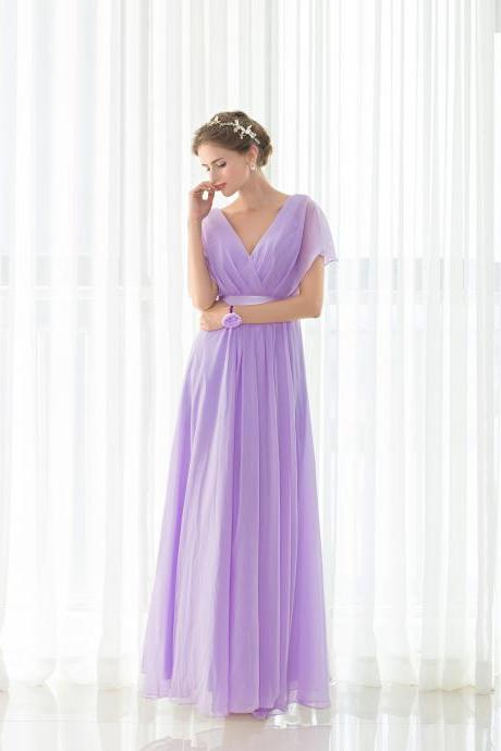 Lavender Bridesmaid Dresses,V Neck Maid Of Honor Dress,Wedding Guest Gowns