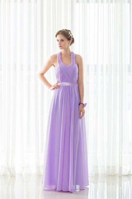 Lavender Bridesmaid Dresses,Halter Wedding Guest Gowns,Maid Of Honor Dress