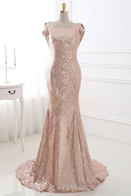 Rose Gold Sequin Open Back Guest Wedding Dress
