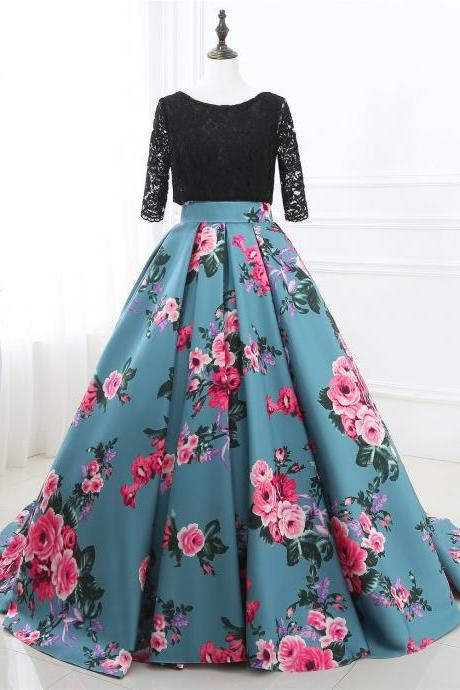 Floral Prom Dresses,Long Sleeve Evening Dress,Lace Formal Gowns,Banquet Dress