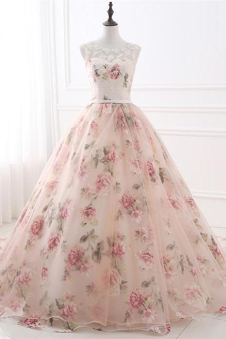 Floral Prom Dresses,Ball Gown Evening Dress,Formal Gowns,Banquet Dress