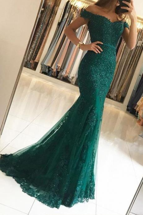 Off The Shoulder Prom Dresses,Mermaid Prom Dress,Evening Gowns,Formal Dress,Banquet Dress